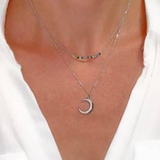 collier lune argente original