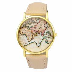 montre carte du monde beige