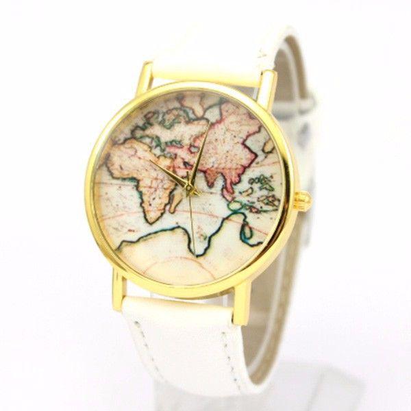 montre carte du monde blanc