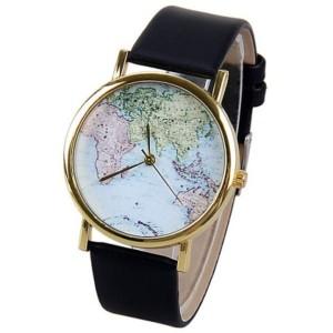 montre carte du monde noir