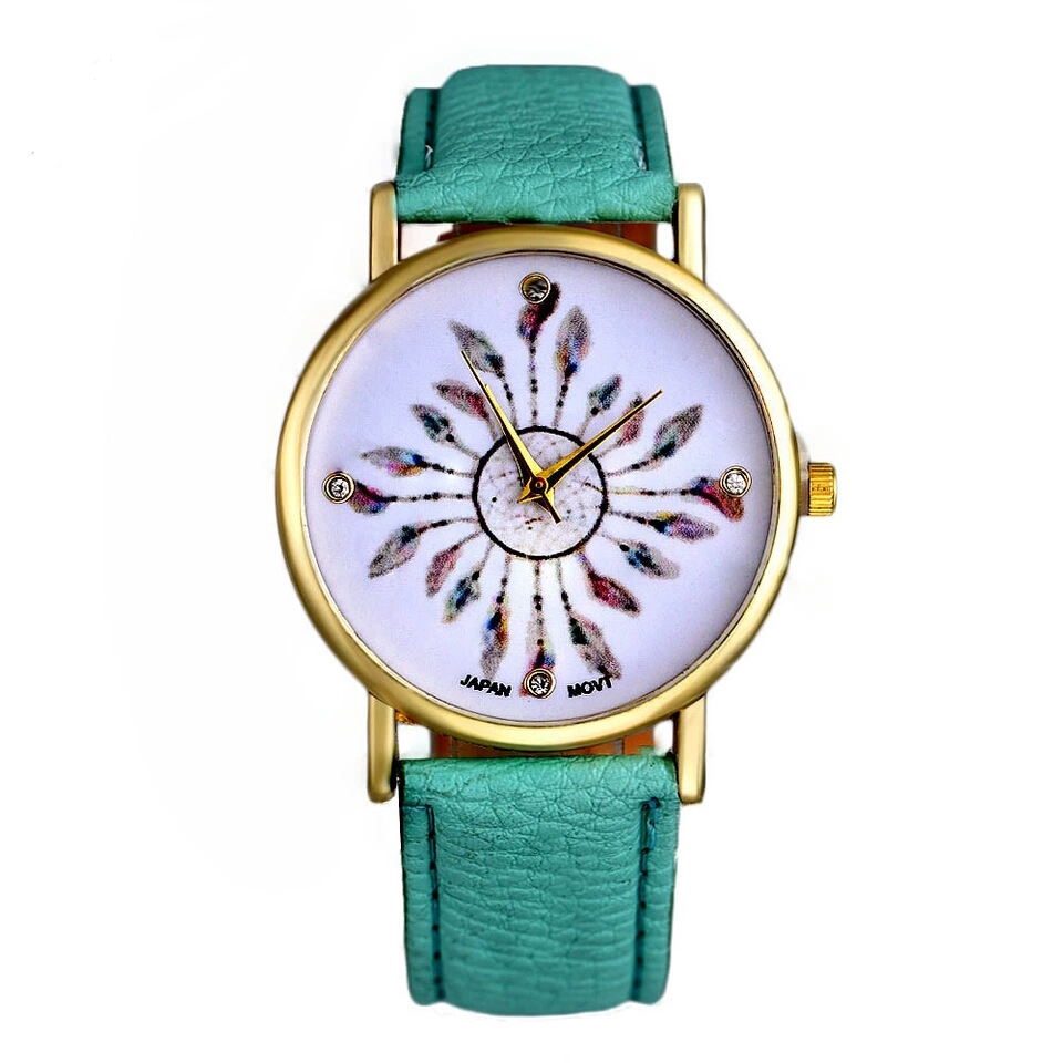 Montre plume turquoise