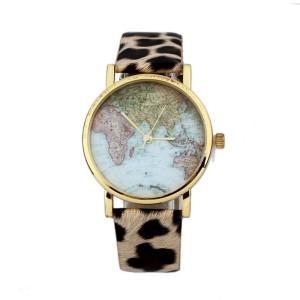 montre carte du monde leopard