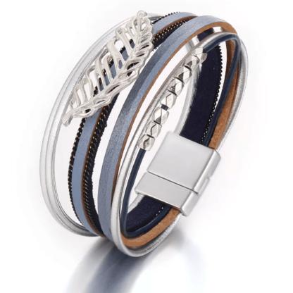 bracelet manchette plume