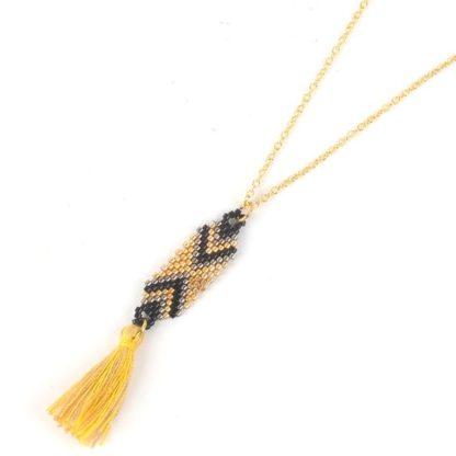 collier perles de japon noir