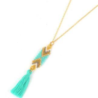 collier perles du japon turquoise