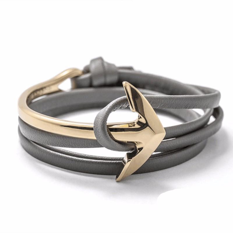 bracelet ancre cuir tendance