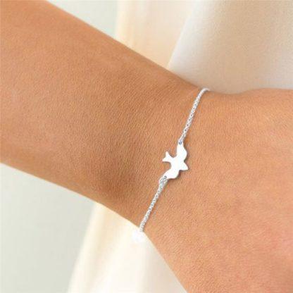 bracelet oiseau argente