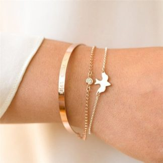 bracelet oiseau dore
