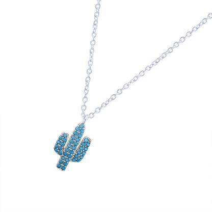 collier cactus strass bleu