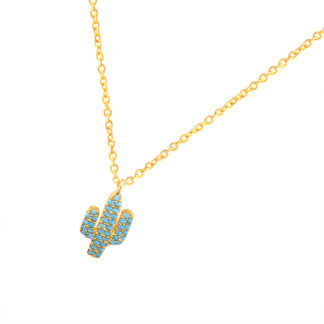 collier cactus strass