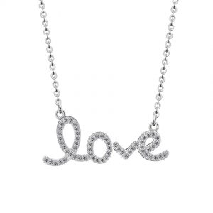 collier love strass argente