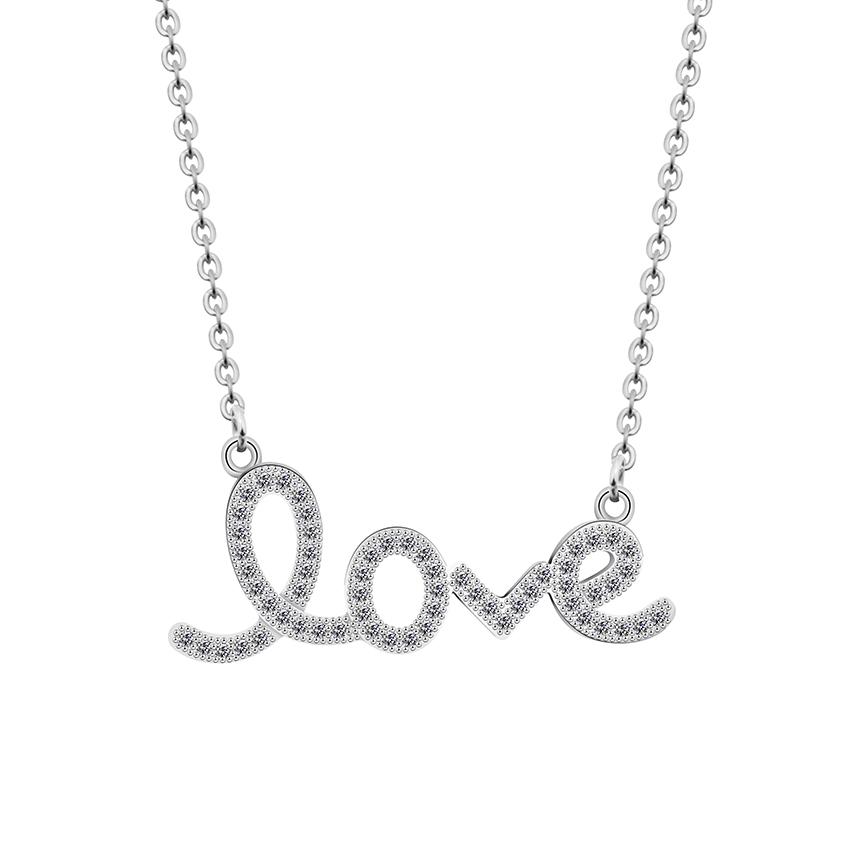 collier love strass argente