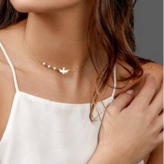 collier oiseau perles