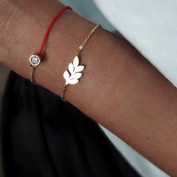 bracelet feuille or