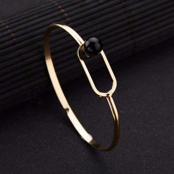bracelet jonc perle noir