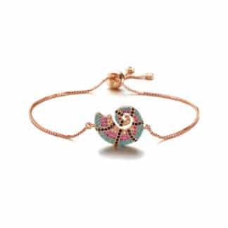 bracelet coquillage or rose