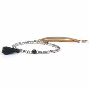 bracelet pompom noir