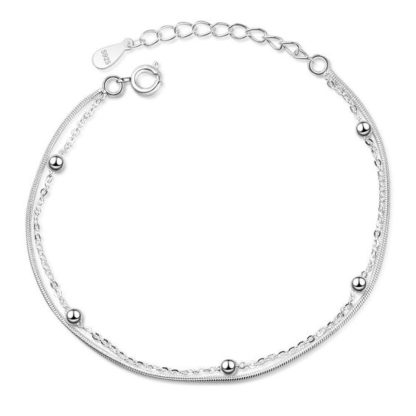 bracelet chaine perlee argent